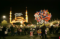 Ramadan celebrations outside the Blue Mosque, Istanbul, Turkey