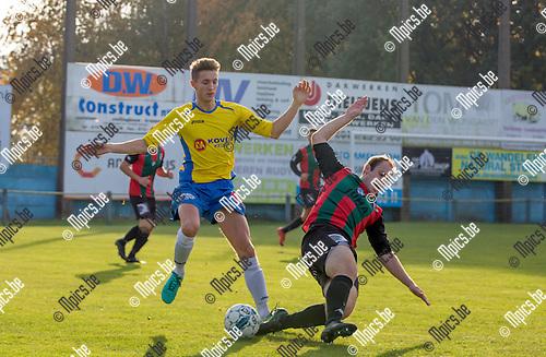 2016-10-30 / Voetbal / seizoen 2016-2017 / KSV Schriek - K.GR Katelijne / Sam Van Aerschot (l.KSV Schriek) met Andy Williams ,Foto: Mpics.be