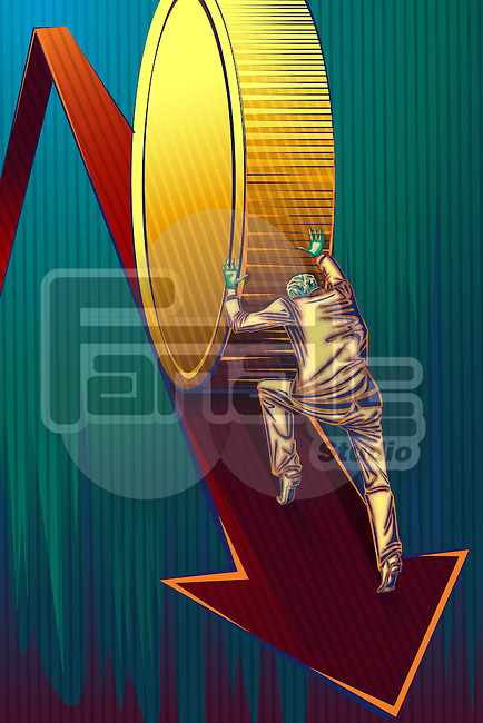 Illustrative image of businessman pushing coin on arrow sign representing recovery of loss