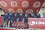 Movistar Team at sign on in San Gimignano before the start of the 2014 Strade Bianche race over the white dusty gravel roads of Tuscany, Italy. 8th March 2014.<br /> Picture: Eoin Clarke www.newsfile.ie