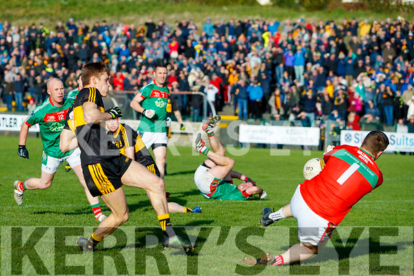 Gavin White Dr Crokes has a shot at goal saved by Ian McInerney Kilmurry Ibrickane in the Munster Senior Club Championship Semi Final at Lewis Road, Killarney on Sunday.