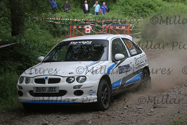 Keith Riddick - Kirsty Riddick in an MG ZR at Junction 3 on the Heathhall Special Stage of the RSAC Scottish Rally 2014, Round 3 of the MSA British Rally Championship, Round 4 of the RAC MSA Scottish Rally Championship sponsored by ARR Craib Transport Limited and other championships which was organised by the Royal Scottish Automobile Club and based at Dumfries on 27-28.6.14.