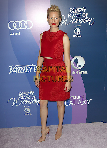 Elizabeth Banks<br /> at Variety's 5th Annual Power of Women event presented by Lifetime at the Beverly Wilshire Four Seasons Hotel in Beverly Hills, California, USA, October 4th 2013.<br /> full length red dress cut out midriff patterned sleeveless <br /> CAP/MPI/mpi25<br /> &copy;mpi25/MediaPunch/Capital Pictures