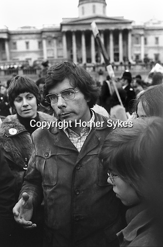 Phillip Agee former member of the CIA and author,  in  London for the publication of his book Inside the Company, first published in the UK due to legal difficulties in the US. Traflagar Square London 1976. there to support a demonstration to stop his and mark Hosenballs deportation to the USA...