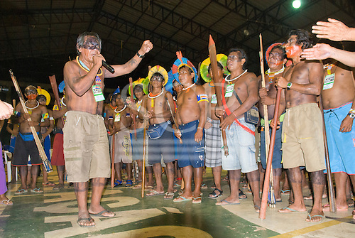 "Altamira, Brazil. ""Xingu Vivo Para Sempre"" protest meeting about the proposed Belo Monte hydroeletric dam and other dams on the Xingu river and its tributaries."