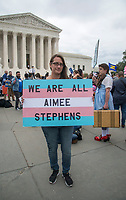 Washington DC, October 8,2019 USA-The US Supreme Court heard arguments for and against Lesbian,Gay,Bi-Sexual and Transgender (LGBT) discrimination in Washington DC. Protestors on both sides gathered at the steps of the Supreme Court, after the area was shut down due to an earlier bomb scare and later reopened. Patsy Lynch/Alamy<br /> CAP/MPI/PYL<br /> ©PYL/MPI/Capital Pictures