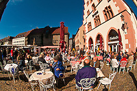 Outdoor cafes on Munsterplatz, Freiburg, Baden-Württemberg, Germany