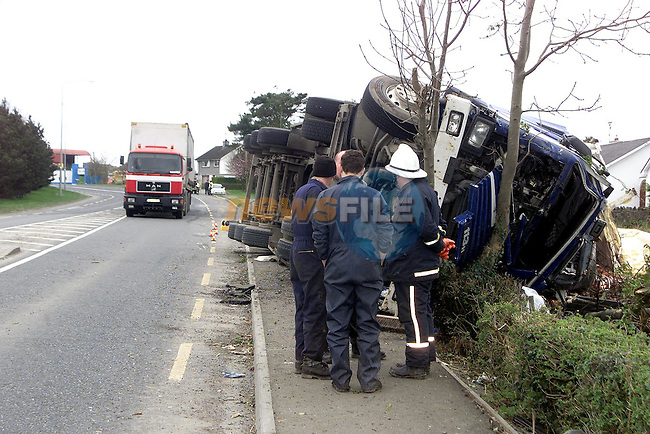 The truck which crashed beside the Statoil staion in Ardee last week killing it's driver..Picture Paul Mohan Newsfile