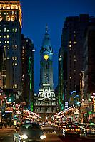 Broad Street nightlife leading to City Hall, Philadelphia, Pennsylvania, USA