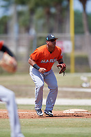 Miami Marlins Jonathan Rodriguez (33) during a Minor League Spring Training game against the St. Louis Cardinals on March 26, 2018 at the Roger Dean Stadium Complex in Jupiter, Florida.  (Mike Janes/Four Seam Images)