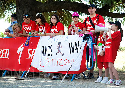 04 JUN 2011 - MADRID, ESP - Ivan Rana supporters make their presence known at the Madrid round of triathlon's ITU World Championship Series  (PHOTO (C) NIGEL FARROW)