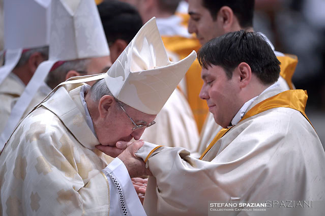 Cardinal Agostino Vallini;Pope Francis,ordained new priests ceremony in St.Peter Basilica at the Vatican. on May 7, 2017