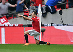 Alexis Sanchez of Manchester United celebrates scoring his goal to make it 1-1 during the FA cup semi-final match at Wembley Stadium, London. Picture date 21st April, 2018. Picture credit should read: Robin Parker/Sportimage