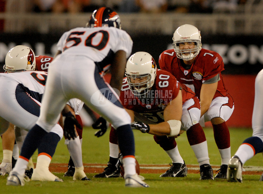 Aug. 31, 2006; Glendale, AZ, USA; Arizona Cardinals quarterback (7) Matt Leinart takes the snap from center (60) Nick Leckey against the Denver Broncos at Cardinals Stadium in Glendale, AZ. Mandatory Credit: Mark J. Rebilas