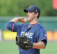 Infielder Jakob Dalfonso (16) of the Rome Braves, an Atlanta Braves affiliate, before a game against the Greenville Drive on May 7, 2012, at Fluor Field at the West End in Greenville, South Carolina. Greenville won, 11-5. (Tom Priddy/Four Seam Images)