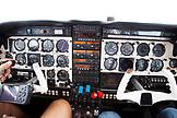 EXUMA, Bahamas. Interior of prop plane flying over to the Exuma Islands.