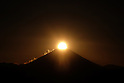 Sun sets near the top of Mount Fuji atop Mount Takao in Tokyo December 26, 2015. (Photo by Yuriko Nakao/AFLO)