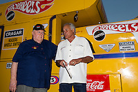 Aug. 29, 2013; Avon, IN, USA: NHRA former driver Tom McEwen (left) and Don Prudhomme during the premiere of Snake & Mongoo$e at the Regal Shiloh Crossing Stadium 18. Mandatory Credit: Mark J. Rebilas-