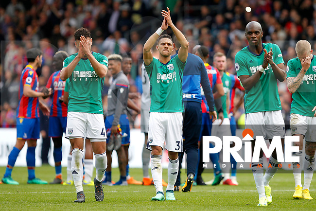 Kieran Gibbs of West Brom applauding fans during the EPL - Premier League match between Crystal Palace and West Bromwich Albion at Selhurst Park, London, England on 13 May 2018. Photo by Carlton Myrie / PRiME Media Images.