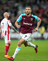 Andy Carroll of West Ham United celebrates his goal during the Premier League match between West Ham United and Stoke City at the Olympic Park, London, England on 16 April 2018. Photo by Andy Rowland.