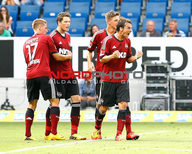 10.08.2013, WIRSOL Rhein-Neckar-Arena, Sinsheim, GER, 1.FBL, TSG 1899 Hoffenheim vs. 1. FC Nuernberg, Jubel Mike FRANTZ, 1. FCN, Daniel GINCZEK, 1. FCN und re. Markus FEULNER, 1. FCN<br /> <br /> Foto &copy; nph / H. Koerkel