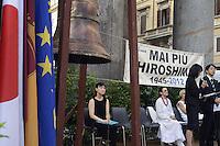 Roma 6 Agosto 2012..Piazza della Rotonda al Pantheon.Il il Comitato 'Terra e Pace' presieduto dall'onorevole Athos De Luca, ricorda le 250.000 vittime provocate dalla bomba atomica sganciata dagli americani sulla citta giapponese di Hiroshima durante la II guerra mondiale il 6 Agosto 1945 . Il primo ministro giapponese, Noda Yoshihiko.