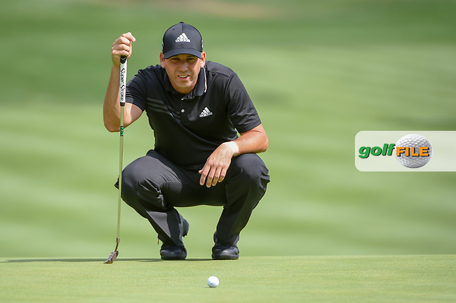 Sergio Garcia (ESP) lines up his putt on 2 during 1st round of the World Golf Championships - Bridgestone Invitational, at the Firestone Country Club, Akron, Ohio. 8/2/2018.<br /> Picture: Golffile | Ken Murray<br /> <br /> <br /> All photo usage must carry mandatory copyright credit (© Golffile | Ken Murray)