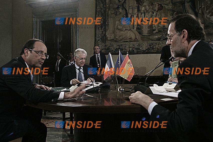Mariano Rajoy, Francois Hollande, Angela Merkel e Mario Monti durante ll'incontro.Roma 22/06/2012 Vertice quadrilaterale Francia, Germania, Spagna e Italia, con il Presidente della Repubblica francese, il Cancelliere Federale tedesco, il Presidente del Governo spagnolo e il Presidente del Consiglio dei Ministri italiano..Foto Pool Insidefoto