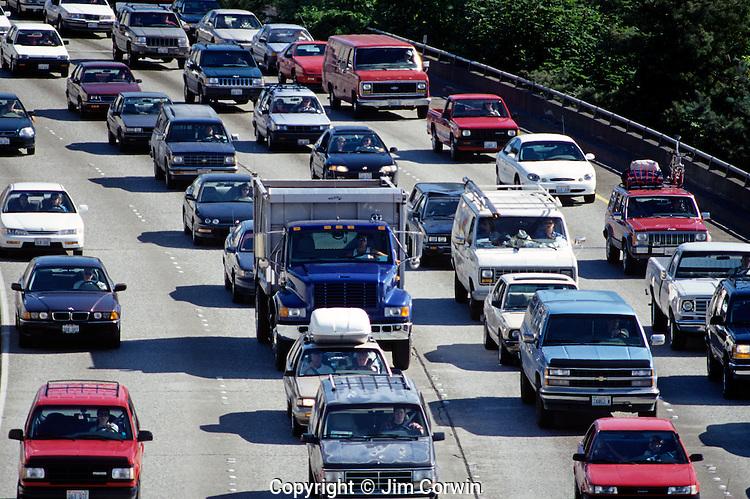 Rush hour traffic jam through downtown Seattle along Interstate 5 Seattle Washington State USA