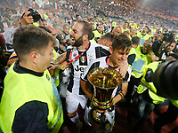 Gonzalo Higuain and Paulo Dyabala  of Juventus  celebrate after win    Italy Cup Final  football match against SS Lazio at  the Olympic stadium in Rome, Italy   17  May 2017