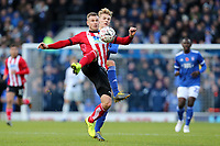 Michael O'Connor of Lincoln City and Flynn Downes of Ipswich Town during Ipswich Town vs Lincoln City, Emirates FA Cup Football at Portman Road on 9th November 2019