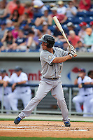 Biloxi Shuckers second baseman Nick Shaw (1) at bat during the second game of a double header against the Pensacola Blue Wahoos on April 26, 2015 at Pensacola Bayfront Stadium in Pensacola, Florida.  Pensacola defeated Biloxi 2-1.  (Mike Janes/Four Seam Images)