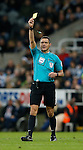 Referee Andre Marriner issuing a yellow card - English Premier League - Newcastle Utd vs Liverpool - St James' Park Stadium - Newcastle Upon Tyne - England - 6th December 2015 - Picture Simon Bellis/Sportimage