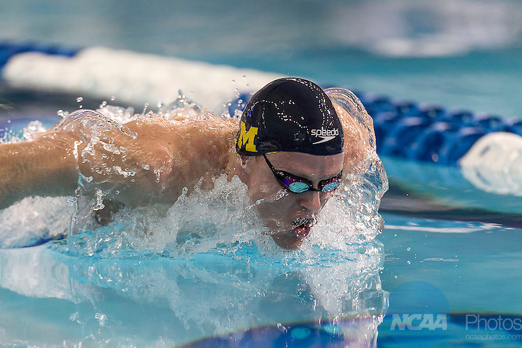 29 MAR 2014: The University of Michigan's Dylan Bosch competes in the 200 yard butterfly race during the Division I Men's Swimming & Diving Championship held at the Lee and Joe Jamail Texas Swimming Center on the University of Texas campus in Austin, TX.   Bosch swam a 1:39.33 setting the American Record and winning the national title.   Rudy Gonzalez/NCAA Photos