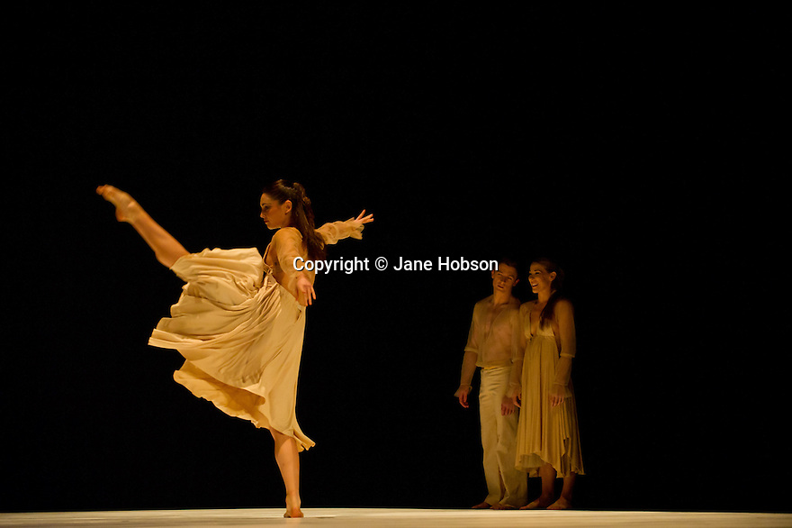 """London UK. 14/07/2011.  Royal New Zealand Ballet presents """"From Here to There"""" at the Barbican. The Barbican brings Royal New Zealand Ballet to London, its first appearance in the UK since 2004, as part of a national tour.  The company performs From Here to There, a spectacular triple bill choreographed by Javier De Frutos, Jorma Elmo and Andrew Simmons.  The title of the evening, From Here to There, reflects the company's journey from its home in New Zealand to the UK, and the audience's journey through three contrasting works. The work shown is """"Banderillero"""", featuring Antonia Hewitt, Paul Matthews, Abigail Boyle, Brendan Bradshaw, Lucy Balfour, Dimitri Leioris, Clytie Campbell, Jaered Glavin, Tonia Looker and Rory Fairweather-Neylan. Photo credit should read Jane Hobson"""