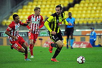 Cillian Sheridan looks for support during the A-League football match between Wellington Phoenix and Melbourne City FC at Westpac Stadium in Wellington, New Zealand on Sunday, 21 April 2019. Photo: Dave Lintott / lintottphoto.co.nz