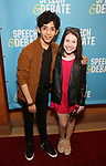 Diego Lucano and Carly Grendall attends Broadway Red Carpet Premiere of 'Speech & Debate'  at the American Airlines Theatre on April 2, 2017 in New York City.