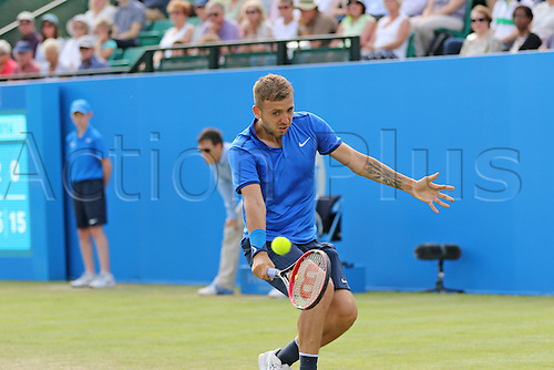 21.06.2016. Nottingham Tennis Centre, Nottingham, England. Aegon Open Mens ATP Tennis. Backhand from Daniel Evans of Great Britain  who defeated Ricardas Berankis of Lithuania in three sets