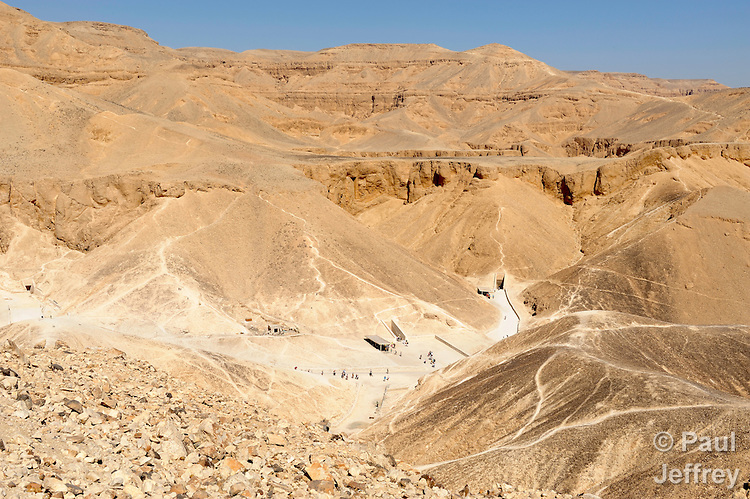 A partial view of the Valley of the Kings, near Luxor, Egypt, where the tombs of several pharaohs have been discovered, and where tourists reign today.