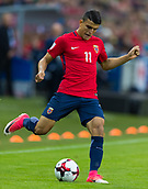 June 10th 2017, Ullevaal Stadion, Oslo, Norway; World Cup 2018 Qualifying football, Norway versus Czech Republic;  Mohamed Elyounoussi of Norway in action during the FIFA World Cup qualifying match