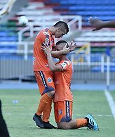 CALI - COLOMBIA, 16-02-2020: Yimer Salas y Cristian Molina del Real celebran después el segundo gol de su equipo durante partido por la fecha 3 de la Torneo BetPlay DIMAYOR I 2020 entre Atlético F.C. y Real San Andrés jugado en el estadio Pascual Guerrero de la ciudad de Cali. / Yimer Salas  and Cristian Molina of Real celebrate the second goal of their team during match for the for the date 3 as part of BetPlay DIMAYOR Tournament I 2020 between Atletico F.C. and Real San Andres played at Pascual Guerrero stadium in Cali. Photo: VizzorImage / Gabriel Aponte / Staff