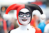 London Super Comic Con<br /> at Design Centre Islington, London, Great Britain <br /> 25th August 2017 <br /> <br /> <br /> Anjes Rinderknecht (comes from Switzerland)<br /> as Harlequin from animated series <br /> <br /> <br /> London Super Comic Con plays host to the latest comics, comic related memorabilia, superheroes and graphic novels fans have a chance to interact with their favourite creators, and  exhibitors showcasing items from comics to Cosplay, original art to toys.<br /> <br /> <br /> <br /> <br /> <br /> <br /> Photograph by Elliott Franks <br /> Image licensed to Elliott Franks Photography Services