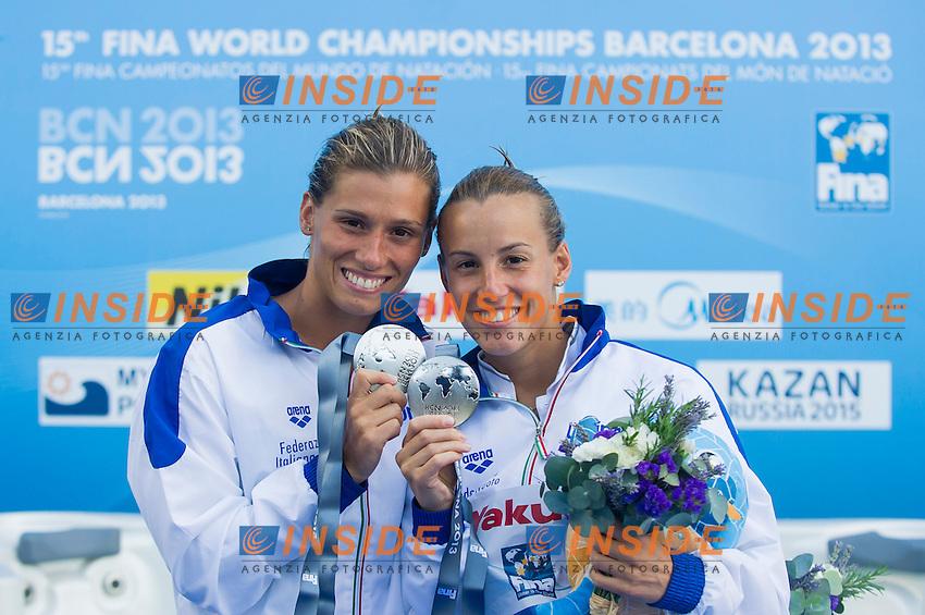 Tania Cagnotto and Francesca Dallape' ITA silver medal<br /> Women's 3m synchronized Springboard final <br /> 15th FINA World Aquatics Championships<br /> Barcelona 19 July - 4 August 2013<br /> Piscina Municipal de Montjuic, Barcelona (Spain) 20/07/2013 <br /> &copy; Giorgio Perottino / Deepbluemedia.eu / Insidefoto