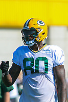 Green Bay Packers tight end Martellus Bennett (80) during a training camp practice on August 1, 2017 at Ray Nitschke Field in Green Bay, Wisconsin.  (Brad Krause/Krause Sports Photography)