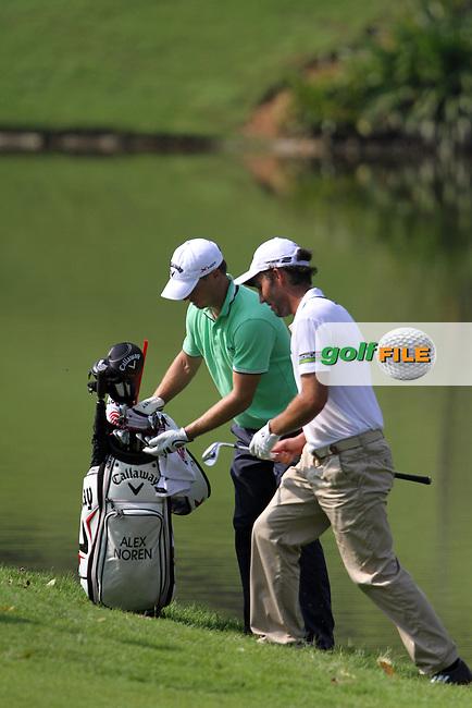 Alexander Noren (SWE) and Edoardo Molinari (ITA) on the 16th on Day 1 of the 2013 Maybank Malaysian Open, Kuala Lumpur Golf and Country Club, Kuala Lumpur, Malaysia 21/3/13...(Photo Jenny Matthews/www.golffile.ie)