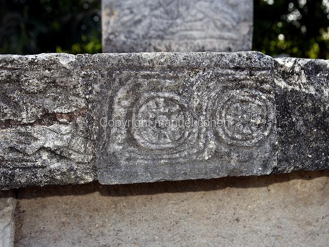 Northeast Colonnade (Detail), 900 ? 1200 AD, Chichen Itza, Yucatan, Mexico. Picture by Manuel Cohen