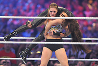 NEW ORLEANS, LA - APRIL 8: Ronda Rousey and Stephanie McMahon at WWE Wrestlemania 34 at the Mercedes-Benz Superdome in New Orleans, Louisiana on April 8, 2018. <br /> CAP/MPI/GN<br /> &copy;GN/MPI/Capital Pictures