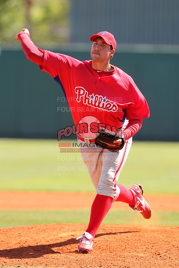 Philadelphia Phillies Phillippe Aumont #35 during an exhibition game vs the Netherlands National Team  at Al Lang Field in St. Petersburg, Florida;  March 13, 2011.  Photo By Mike Janes/Four Seam Images