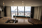© Joel Goodman - 07973 332324 . 24 June 2013 . Orchid Suite , Beetham Tower , Manchester , UK . Kitchen . Former triplex apartment home of Phil and Julie Neville , which is up for rent and thought to be the most expensive in Manchester . Photo credit : Joel Goodman