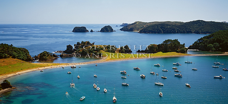 Aerial of yachts and boats at Okahu Island in the Bay of Islands. Northland Region. New Zealand.